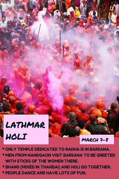 Lathmar Holi events and festivals in March