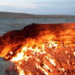 Natural gas field in Derweze Turkmenistan door to hell